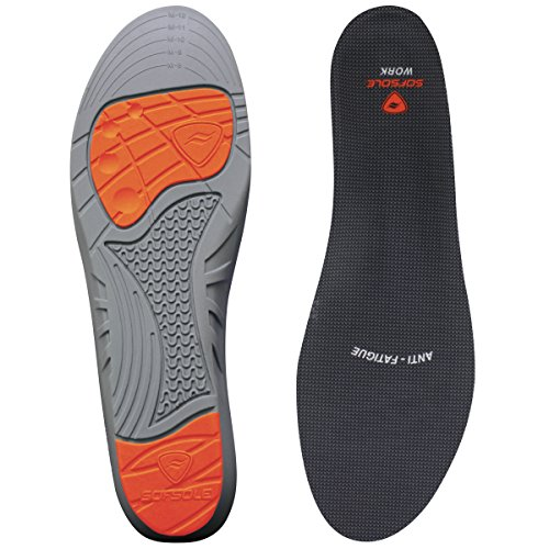 Sof Sole Insoles Men's WORK Anti-Fatigue Full-Length Comfort Shoe Inserts, Men's (Sof Sole Stability Insole)