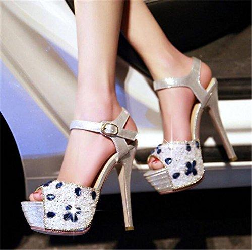 a sandali spillo Strass Tacco da Vestito Scarpe da Festa donna Club Pompe EU38 piattaforma GAOGENX a 35 38 HqZASnp