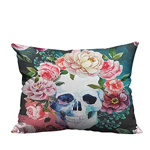 YouXianHome Sofa Waist Cushion Cover Big Flowers Skull All Sa ts Day Halloween Image Purple Decorative for Kids Adults(Double-Sided Printing) 13x17.5 -