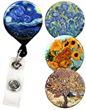 Buttonsmith Van Gogh Tinker Reel Retractable Badge Reel With Alligator Clip and Extra-Long 36 inch Standard Duty Cord - Made in the USA, 1 Year Warranty