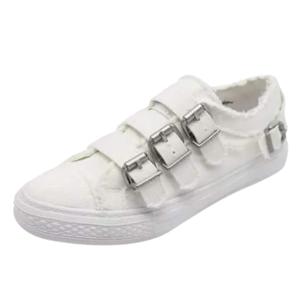BEAUTYVAN Women's Slip On Sneakers Three Buckle Cowboy Low Top Canvas Shoes Platforms Bottom (Size 43=US:9.5, White)