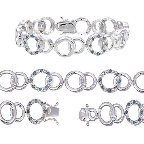 Vir Jewels, Bracelet Femme Argent fin 925/1000 Diamant Bleu 1 Karat