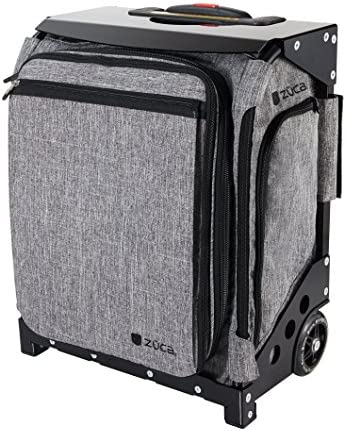 ZUCA Navigator Expandable - Heather Gray Bag and Black Frame, Rolling Suitcase with Built-In Seat