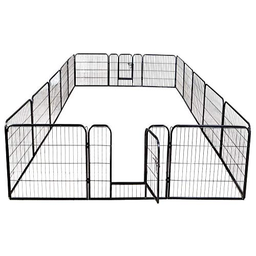 16 Panels Dog Puppy Cat Pet Playpen Metal Fence Heavy Duty Pet Pen Exercise Outdoor Indoor Kennel Crate (40