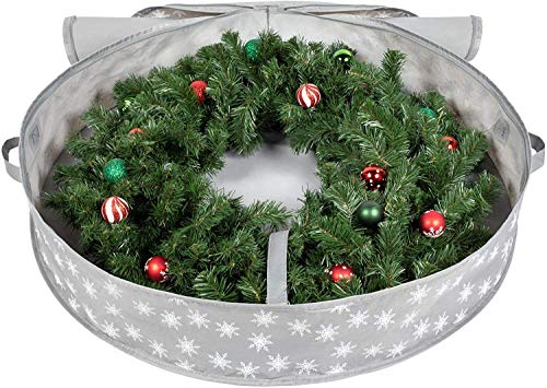 Primode Wreath Storage Bag with Clear Window 36 Holiday Wreath Bags Green Garland or Xmas Wreath Container for Easy Storage
