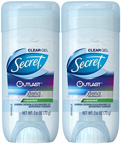 Secret Outlast Xtend Antiperspirant Deodorant, Clear Gel, Unscented, 2.6 Ounce (Pack of 2) by Secret