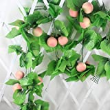 Mynse 5 Pieces Fake Fruit String Home Garden Fence Market Decoration Artficial Peach with Vines 95''
