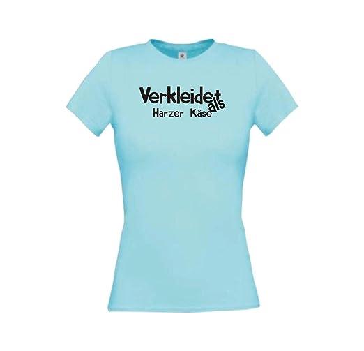 Shirtinstyle Camiseta de Chica Verkleidet como Harzer Queso Vestido Disfraz de Carnaval Revestimiento Muchos Colores CAMISETA de CULTO XS-XL - Blanco, ...