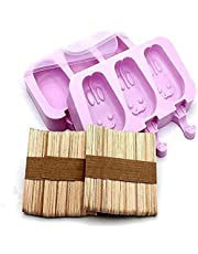 Popsicle Silicone Molds with Lid,Ice Cream Mold, 3 Cavities Silicone Ice Pop Mold with 100 Wooden Sticks, Set of 2 (Rabbit Shape and Oval)