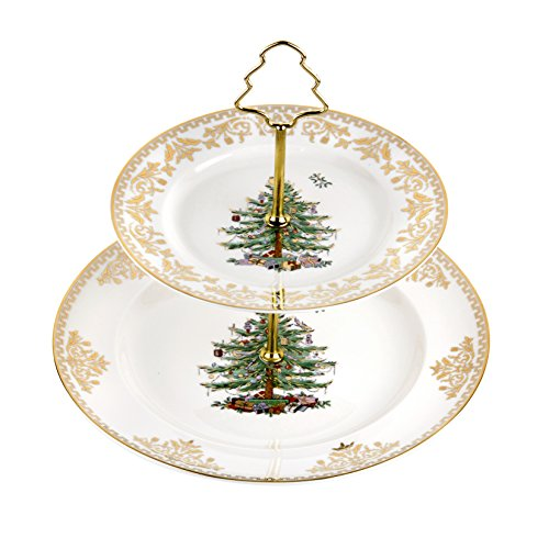 Spode Christmas Tree 2-Tier Cake Stand, Gold (Christmas Tree Serving Platter)