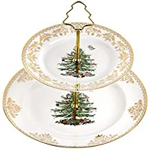 Spode Christmas Tree 2-Tier Cake Stand, Gold