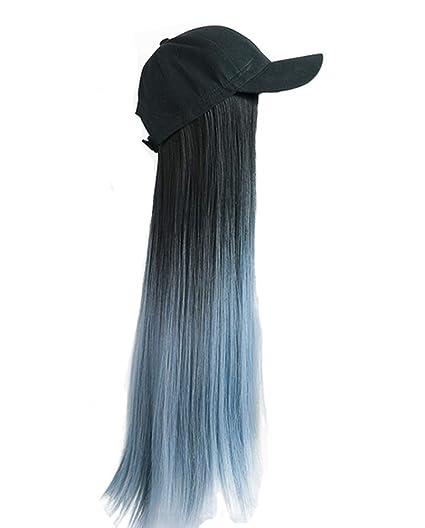 Gorra de béisbol negra con peluca recta larga azul gris Sombrero ...