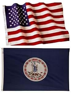 4x 6bordada la bandera americana y 4x 6Virginia bandera hecho en los EE. UU.