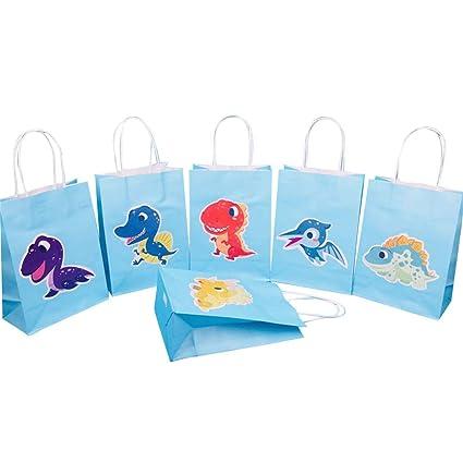 Amazon.com: Toyvian 6pcs Cartoon Dinosaur Gift Bags Paper ...