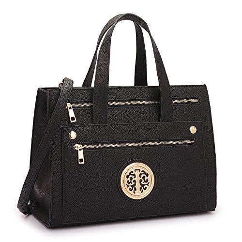 MMK collection Fashion Handbag (14-7042)~Gold-Tone Satchel Handbag for Women` Signature fashion Designer Purse~ Perfect Beautiful Designer Purse & Women Satchel Purse (14-7042-BK)