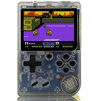 Leoie Retro Portable Mini Handheld Game Console 8-Bit 3.0 Inch Color LCD Kids Color Game Player Built-in 168 Games Transparent White