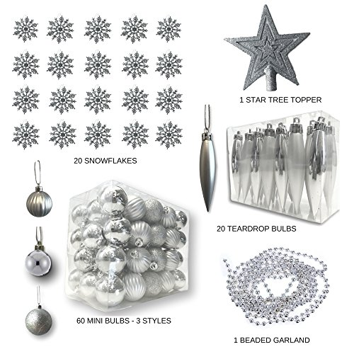 BANBERRY DESIGNS Silver Christmas Decorations - Pack of 100 Assorted Silver Finished Christmas Ornaments - Silver Decorations - Trim-A-Tree Kit -
