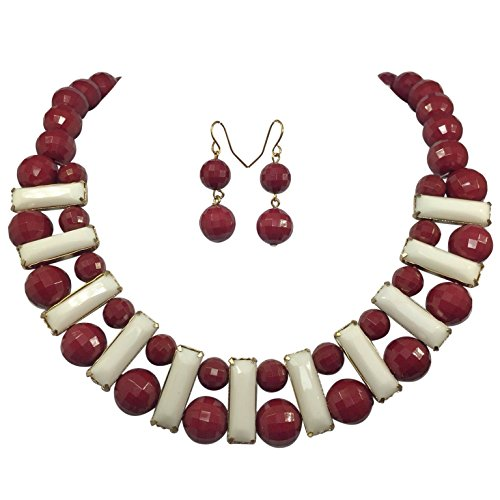 (Gypsy Jewels Bead & Bar Resin Gold Tone Bib Statement Necklace & Earrings Set (Dark Red Maroon & White))
