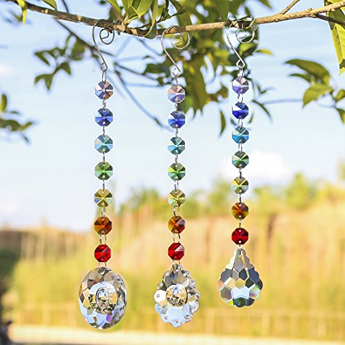 H&D Glass Crystal Oval Prism Rainbow Maker Chakra Hanging Suncatcher Window Sun Cacther with Ocatgon Beads for Gift,Pack of 3 by H&D