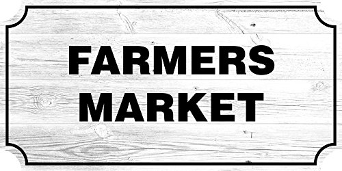 iCandy Combat Farmers Market Farmhouse Country Sign, Rustic Wall Decor Living Room Signs, 12x24 Inch (White) (Mtl Wall Decor)