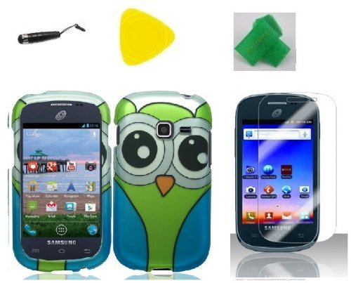 Green Blue Owl Faceplate Hard Phone Case Cover Cell Phone Accessory + Yellow Pry Tool + Screen Protector + Stylus Pen + EXTREME Band for Straight Talk Samsung Galaxy S738c S738 c Discover S730g