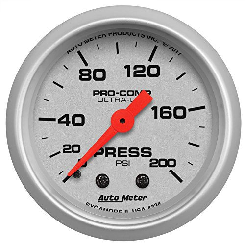 (AutoMeter 4334 Ultra-Lite Mechanical Pressure Gauge 2-1/16 in. 200 PSI Silver Dial Face Brushed Aluminum Bezel Fluorescent Red Pointer White Incandescent Lighting Ultra-Lite Mechanical Pressure Gauge)