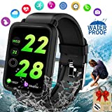 Fitness Tracker Smart Watch, Waterproof Fitness Watches with Blood Pressure Heart Rate Calorie