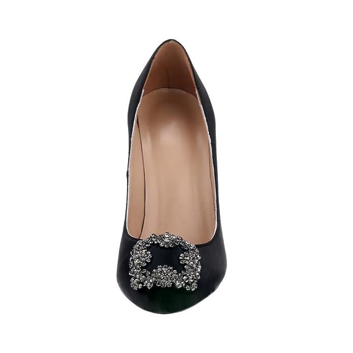 788823032a Amazon.com | EKS Women's Satin Full Sole Diamonds Pointy Closed Toe High  Heel Pumps | Pumps