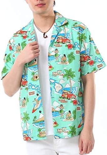 アロハシャツ メンズ ハワイ製 エメラルドグリーン/ハッピーハワイ柄 コットン KY'S