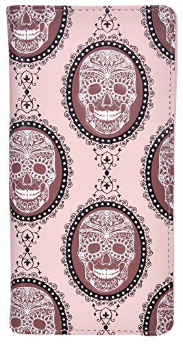 Shagwear Women's Fashion Large Zipper Wallet Vintage Skulls Pink (Pink Skull Coin Purse)