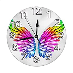 Gay LGBTQ Lesbian Angel Wing Family Decorations Clock Mounted for Girl Boy Kids Bedroom Living Bed Dinning Room Dorm Wall Desk Home Art Decor Frameless Non Ticking