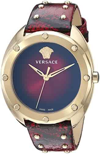 Versace Women's 'SHADOV' Quartz Gold-Tone and Snake Skin Watch, Color:Red (Model: VEBM00918)