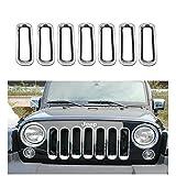 Moonet Jeep Wrangler JK Sliver Chrome Front Billet Grille Insert Cover Trim Kits 7pcs