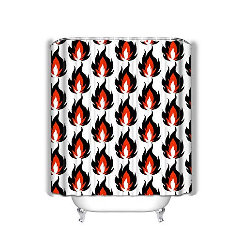 (Makas Beach Shower Curtain fire Symbols Isolated White Background Flame Pattern Wallpaper Black red Fashion Fabric Bathroom Decor 60 X 72 Inch)