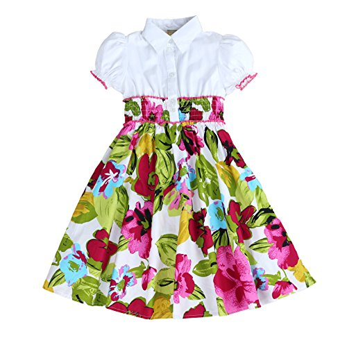 MARIA ELENA - Toddlers and Girls Anna Belle Floral Light Cotton Dress in Tropical Hot Pink 2T (Dress Anna Cotton)