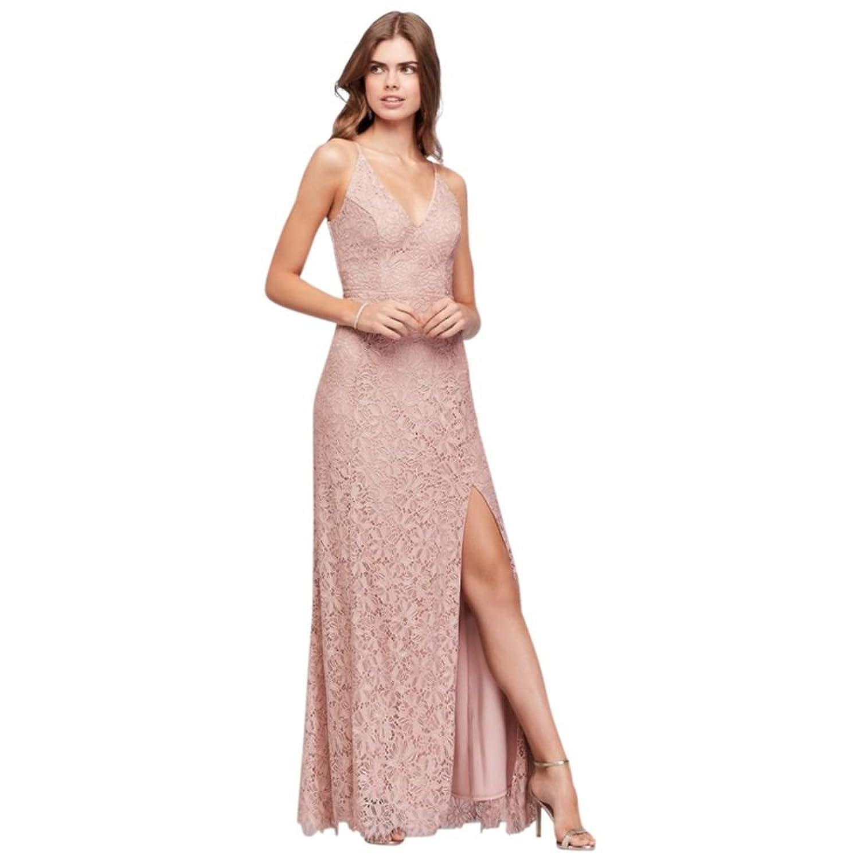 David\'s Bridal Princess-Seam Crochet Lace V-Neck Sheath Prom Dress ...