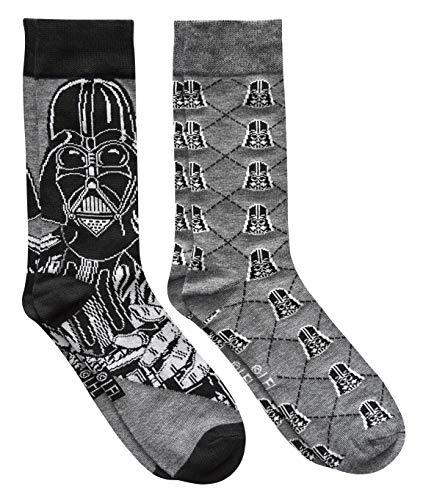 Star Wars Darth Vader Argyle Men's Crew Socks 2 Pair Pack Shoe Size 6-12 ()