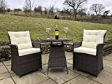 Simply Stylish Home Furnishings Rattan Outdoor 2 Seat Round Garden Bistro Set (Brown)