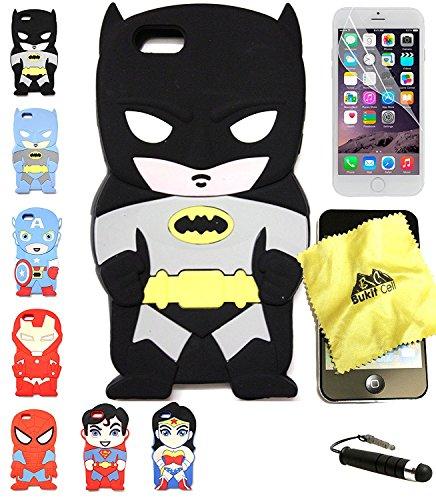 Bukit Cell 3D Superhero Case Bundle 4 Items: Batman Black Cute Justice League Cartoon Soft Silicone Case for 7 ( Not for 7 plus ) , Screen Protector + Bukit cell Metallic Stylus Pen+ cleaning cloth