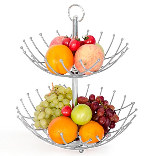 Fruit Basket Stand By Luxe Premium (Silver Color) - 2 Tier Fresh Veggie Holder Iron Wire for Large Capacity-modern Kitchen Countertop Storage for Exotic & Tropical Fruits, Bananas..