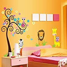 Colorful Tree Flowers Owls Birds Lion Animals Wall Decal Home Sticker Paper Removable Living Dinning Room Bedroom Kitchen Art Picture Murals DIY Stick Girls Boys kids Nursery Baby Playroom Decoration