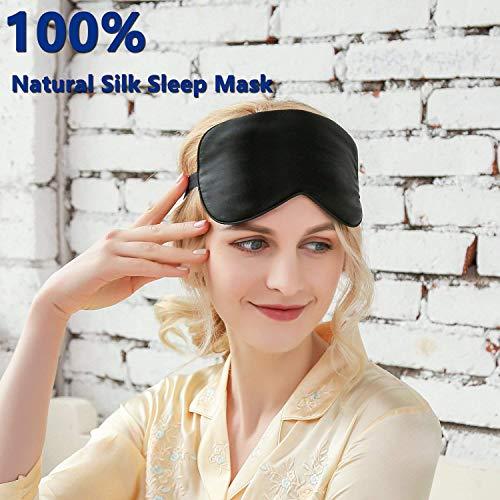 Silk Sleeping Eye Mask with Adjustable Strap, Travel, Naps,Soft Super Smooth Night Blindfold...