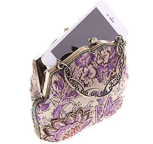Clutches Evening Beaded Flowers Green Purple Handbag Vintage Party Elegant Wedding TDPAC E Bag Womens wCYYvq