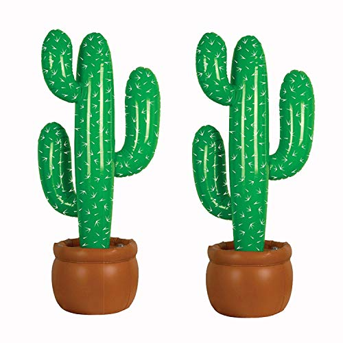 Blow Up Cactus (Ioffersuper 2 Pack Inflatable Cactus 35 Inches Cactus Tree Prop Beach Backdrop Favor for Hawaiian Luau Party Summer Theme)