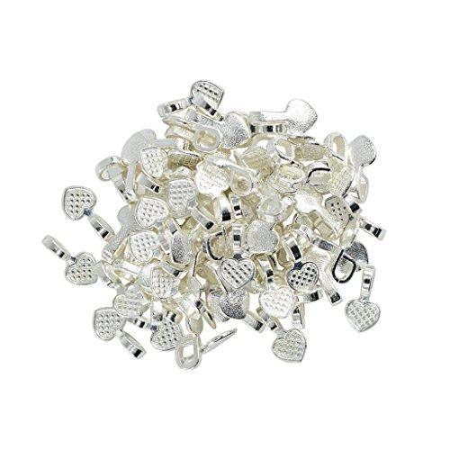 Heart Bail Pendant (MonkeyJack 100 Pieces Silver White Heart Glue on Bails Pendant Cabochon Jewellery Findings)