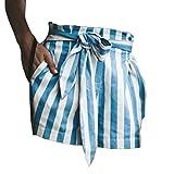 S-Fire Elastic Belt Waistband Boho Shorts Women Mid Waist Loose Summer Beach Casual Shorts,Sky Blue,M