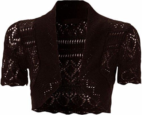 New Womens Plus Size Crochet Knit Fish Net Bolero Shrugs Tops 8-20 ( Brown , UK 16-18 / EU 44-46 )
