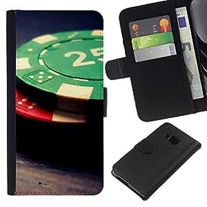 KLONGSHOP // Tirón de la caja Cartera de cuero con ranuras para tarjetas - Fichas de póquer - HTC One M7 //