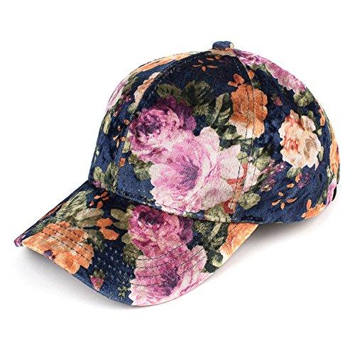 C.C Oriental Flower Patten Baseball Cap(BA-743) (Velvet-Navy)