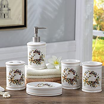 Brandream Luxury Butterfly Bathroom Accessories Set Farmhouse Bathroom Decor  Set Ceramic, 5Pcs